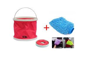 Speedwav Foldable Cleaning Kit Water Bucket/Trash Bin+ Microfiber Glove