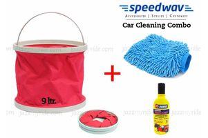 Speedwav Foldable Cleaning Kit Water Bucket/Trash Bin+ Abro Shampoo+ Glove