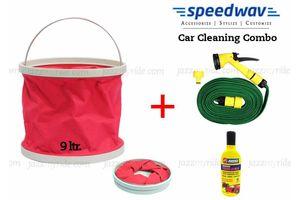 Speedwav Foldable Cleaning Kit Water Bucket/Bin+Spray Jet Gun+ Abro Shampoo