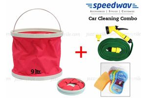 Speedwav Foldable Cleaning Kit Water Bucket/Bin +Spray Jet Gun+Magic Sponge