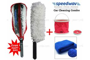 Speedwav Foldable Cleaning Kit Water Bucket/Bin+Long Microfiber Duster+Cloth