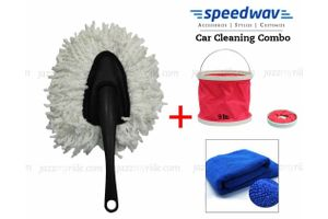 Speedwav Foldable Cleaning Kit Water Bucket/Bin+Small Handle Duster+Cloth