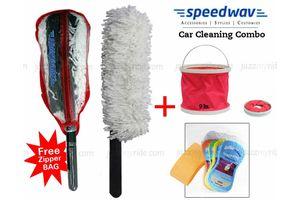Speedwav Foldable Cleaning Water Bucket+Long Microfiber Duster+Magic Sponge