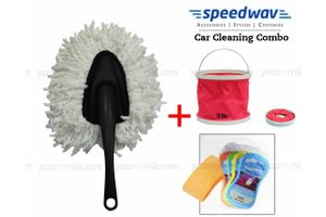 Speedwav Foldable Cleaning Water Bucket+Small Handle Duster+Magic Sponge
