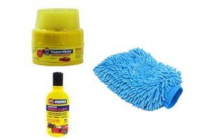 Speedwav Car Cleaning Kit Microfiber Glove + Abro Wax Polish +Abro Shampoo