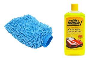 Formula 1 Car/Bike Wash and Wax Shampoo 473ml + Speedwav Microfiber Glove