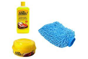 Speedwav Car Cleaning Kit Formula1 Shampoo 473ml+Wax Polish+Microfiber Glove