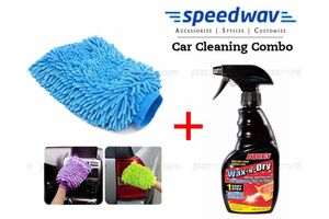 Speedwav Car Cleaning Kit Abro 1 Step Wax & Dry WD-473 + Microfiber Glove