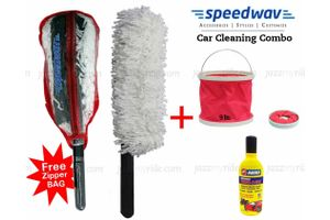 Speedwac Car Cleaning Kit Long Microfiber Duster + Abro Shampoo+Water Bucket
