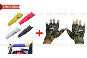 Speedwav Riding Combo Biking Arm Sleeve+Pro-Biker Military Half Cut Gloves