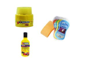 Speedwav Car Cleaning Kit Magic Sponge+Abro Shampoo+Small Wax Polish