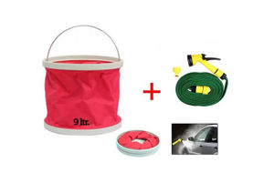 Speedwav Car Cleaning Kit Water Bucket/Trash Bin + Water Gun 10 Meter