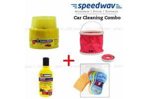 Speedwav Car Cleaning Kit Water Bucket+ Abro Wax+ Shampoo+ Magic Sponge