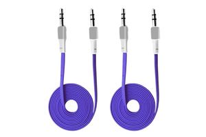 Speedwav Anti Tangle 3.5mm Car Stereo Aux Cable Wire Cord(set of 2)-Blue