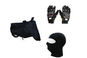 Bike Combo-Pro Biker Gloves (Black) + Face Mask + Bike Cover