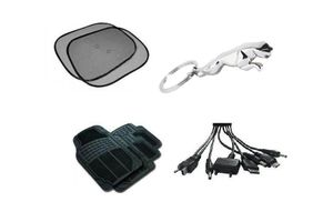 Combo Of Car Sun Shade +Jaguar Keychain + Car Floor / Foot Mats + Car Charger