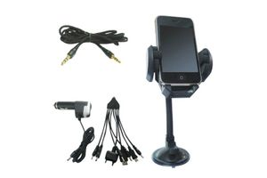 Combo Of Fly Universal Car Mobile Holder+Aux Cable+Titoni 9 in 1 USB Car Charger