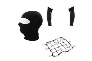 Combo Of Bike Cargo Bungee Net + Full Face Mask + Arm Sleeves