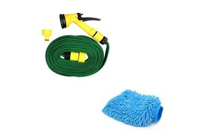 Speedwav Car Cleaning Combo of 10m Water Spray Hose Gun + Speedwav Microfiber Glove