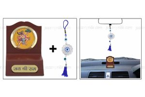 Combo of Lord Hanuman God Idol for Car Dashboard and Hanging Lucky Charm