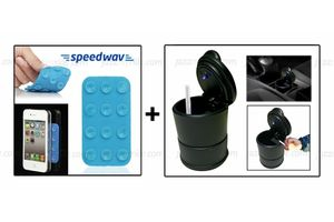 Combo of Speedwav Mini Anti-Slip Mobile Pad and Ashtray with Blue LED light