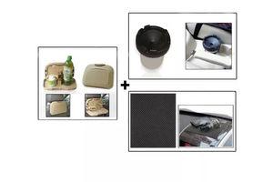 Combo of Speedwav Car Dining Tray-Beige+ Anti-Slip Mat-Black & Cigarette Ashtray