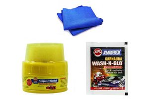 Abro Bike Cleaning kit ( Shampoo Pouch+Wax Polish+Microfiber Cloth)