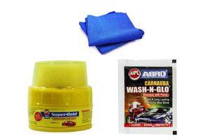 Abro Car Cleaning kit (Shampoo Pouch+Wax Polish+Microfiber Cloth)