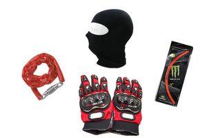 Bikers Combo- Gloves+ Facemask+ Rim Sticker & Helmet Lock
