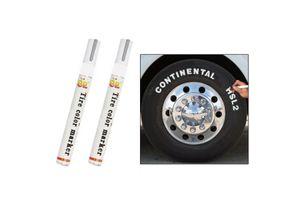 E2 Set of 2 Tyre Highlight Marker Pen Paint Waterproof-White