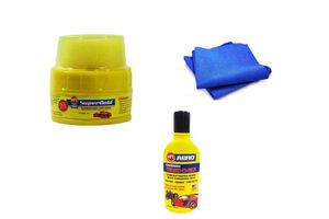 Abro Car Cleaning Kit Microfiber Cloth + Abro Wax Polish +Abro Shampoo