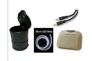 Car Party Kit- Party Tray-Beige+LED Light Ashtray+LED Strip+Aux Cable