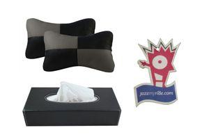 Speedwav Black And Grey Car Neck Cushion + Black Tissue Box + Jazzy Perfume