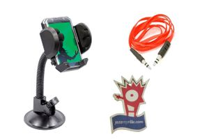 Fly Car Mobile Holder with AC vents clip + Speedwav Aux Cable + Jazzy Perfume