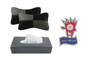Speedwav Black And Grey Car Neck Cushion + Grey Tissue Box + Jazzy Perfume