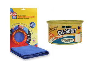 ABRO Car Gel Perfume/Air Freshener GS-300 Strawberry+Microfiber Cloth
