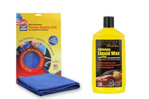 ABRO Car Wax- Liquid LW-900 (473 ml)+Microfiber Cloth