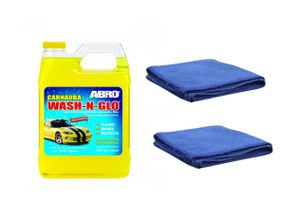 ABRO Wash-N-Glow CW-928 (946 ml)+Set of 2 Microfiber Cloth