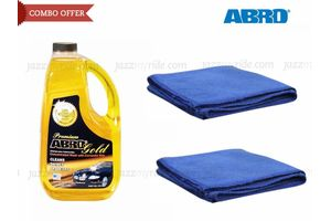 Combo of ABRO Gold Car wash-1.82 ltr+Set of 2 Microfiber Cloth