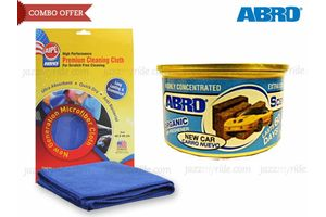 Combo of Abro Scent Organic Air freshener-NEW CAR+Microfiber Cloth CT-210