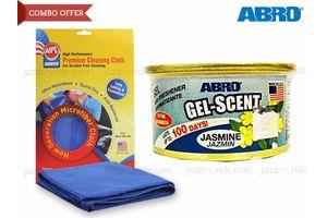 Combo of Abro Gel Scent Air Freshener/Perfume-Jasmine+ Microfiber Cloth