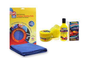 Abro Cleaning Combo- Shampoo 100ml+ Wax Polish-60gm+ ABRO Sponge+Microfiber Cloth