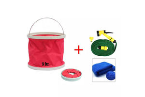 Speedwav Foldable Cleaning Kit Water Bucket+Spray Jet Gun+Microfiber Cloth