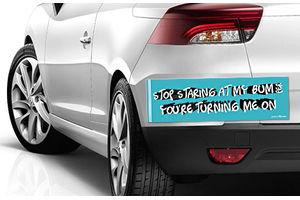 Speedwav Quirky Car Bumper Sticker-STOP STARING AT MY BUM PER
