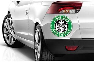 Speedwav Quirky Car Bumper Sticker-I LOVE GUNS & COFFEE (ROUND)
