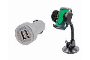 Speedwav Car 12V Twin USB Mobile Charger + Fly Mobile Holder With Frame