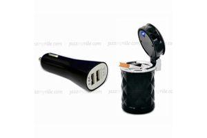 Speedwav Dual USB Car Mobile Charger + Ashtray with LED Light-Black