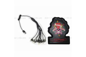 Speedwav Strechable 10 in 1 Car Mobile Charger+Ed Hardy Dashboard Mat-BLACK