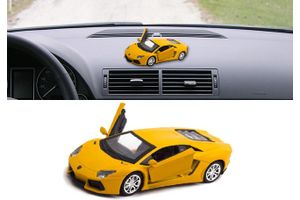 Lamborghini Aventador 3 in 1 Car Perfume With Pull Back Action-YELLOW