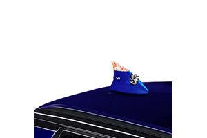 Speedwav Decorative Wind Powered LED light Fin Shaped Car Antenna-Blue